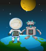 Illustration of an astronaut beside a robot in the outer space