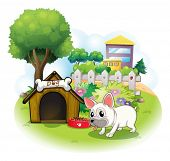 Illustration of a dog and his doghouse inside the fence on a white background