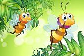 Ilustração das duas abelhas voando com muitas folhas