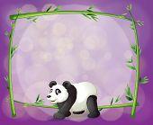 Illustratie van een panda voor een bamboe frame