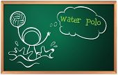 Illustration of a blackboard with a sketch of a person playing water polo on a white background
