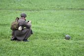 Two Soldiers On The Green Grass