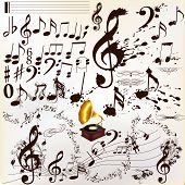 Collection Of Calligraphic And Grunge Music Elements Staves And Notes