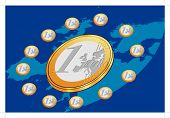 Euro Coins Placed In Circle With Blue Background