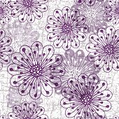 Grunge Seamless Pattern With Flowers