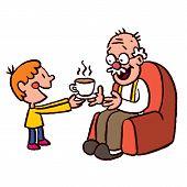 grandson bringing tea to grandpa