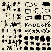 Ink splatters. Grunge design elements collection.