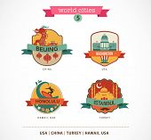 World Cities labels - Beijing, Istanbul, Honolulu, Washington,