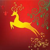 Rein deer stylized with scrolls