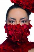 Face And Neck Girl Covered With Red Rose