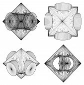 picture of subtraction  - Geometric Subtraction Of Octahedron And Two Cylinder Isolated Vector - JPG