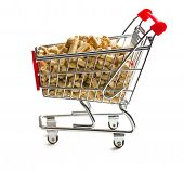 pellets in shopping cart on white background