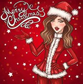 Merry Christmas greeting card with Santa girl
