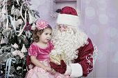 image of saint-nicolas  - Girl in an elegant dress and Saint Nicolas - JPG