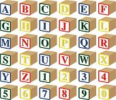 Baby Blocks Letters And Numbers In 3D: Vector Illustration