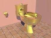 Golden toilet - 3D render