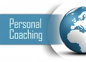 stock photo of personal assistant  - Personal Coaching concept with globe on white background - JPG