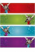 4 Christmas Banners - Reindeer