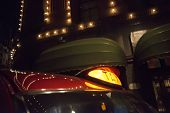 stock photo of hackney  - Taxi in London in the night - JPG