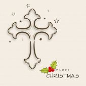 Merry Christmas celebration greeting card or invitation card with Christian cross on abstract backgr