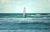 Sea Windsurfing Sport Sailing Water Active Leisure Windsurfer Training On Waves Summer Day Lifestyle