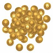 Bitcoins heap isolated on white