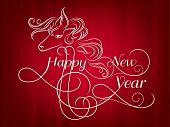 picture of chinese new year horse  - Happy New Year 2014 celebration flyer - JPG