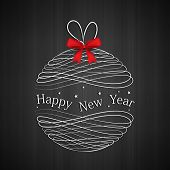Happy New Year 2014 celebration flyer, banner or poster with Xmas ball and red ribbon on dark grey background.
