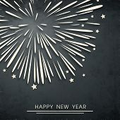 Happy New Year 2014 celebration flyer, poster, banner or invitation with fireworks on grey background.