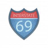 Interstate Highway sign . Denim style. Vector