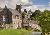 stock photo of swales  - Muker village showing church - JPG