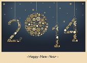 stock photo of calendar 2014  - 2014 Happy New Year greeting card from golden snowflakes - JPG