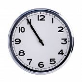 Large Clock Shows Five Minutes To Eleven