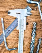 silver calipers and other tools