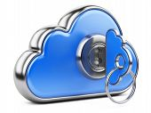 Cloud With Key On White Background. Isolated 3D Image