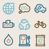 Eco web icons, vintage series