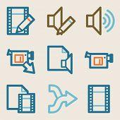 Audio video edit web icons, vintage series