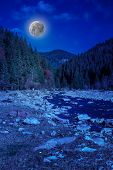 River  Rocky Shore Near The Mountain In Moonlight