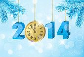 Happy new year 2014! New year design template. Raster version of vector