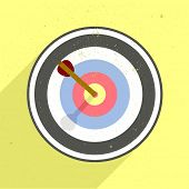 stock photo of archery  - detailed retro flat style illustration of an archery target - JPG