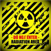detailed illustration of a grungy radiation warning sign