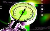 stock photo of sphygmomanometer  - Digital illustration of sphygmomanometer in colour background - JPG