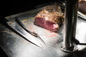 Delicious Beef Steak On Table With Knife