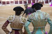 Spanish Bullfighters looking bullfighting