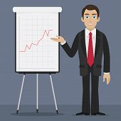 Businessman specifies on flipchart