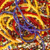 multi-coloured African pearl necklaces, Senegal, Africa
