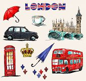 London symbols. Set of drawings.
