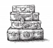 image of heavy bag  - Sketch drawing of luggage bags - JPG
