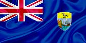 picture of ascension  - Flag of Saint Helena Ascension and Tristan da Cunha waving in the wind - JPG