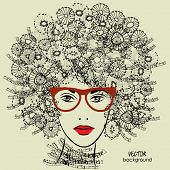 art sketched beautiful girl face with glasses and curly hairstyle in vector